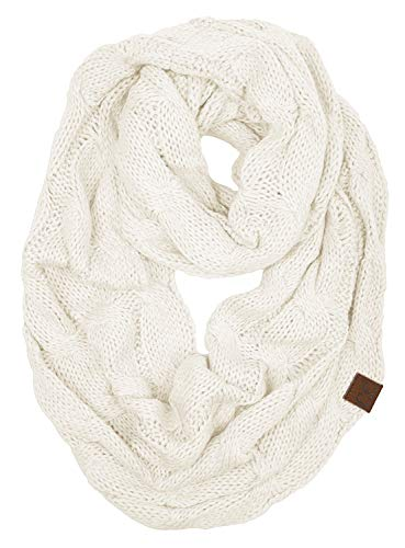 S1-6100-25 Funky Junque Infinity Scarf - Ivory (Solid)
