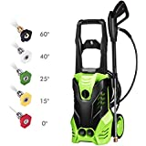 3000 PSI Pressure Washer, Power Washer, Electric Pressure Washer, High Pressure Washer Cleaner Machine with 5 Nozzles,1800W Rolling Wheels,for Cleaning Cars, Houses Driveways, Patios,and More