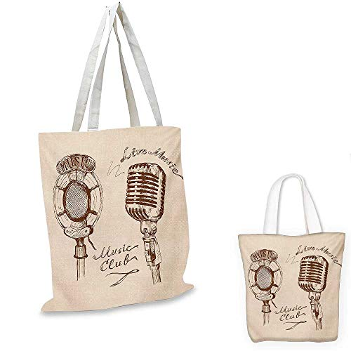 Ecru Print (Music small clear shopping bag Old Fashioned Doodles with Waves and Vintage Microphone Print Retro Style Boho Print sloth shopping bag Brown Ecru. 16