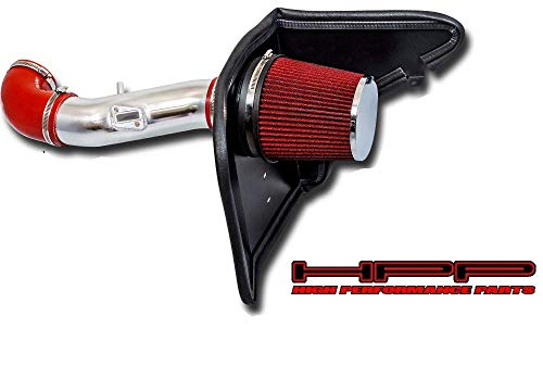 High Performance Parts Heat Shield Cold Air Intake Kit & Red Filter Combo Compatible for 2012-2015 Camaro V6 3.6L