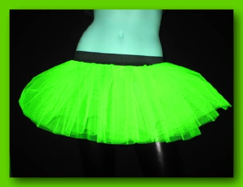 [Parrot Green Mini Tutu Skirt Petticoat Punk Uv Neon Rave Dance Christmas Halloween Fairy Fancy Costume Dress Party Free Shipping USA] (Uv Dance Costumes)