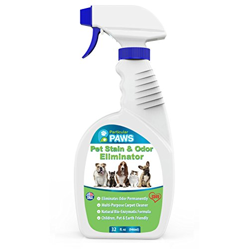 Particular Paws Pet Stain and Odor Remover - Professional Strength Triple Action Enzyme Spray Eliminates Dog and Cat Urine Stains and Smells - 32 oz