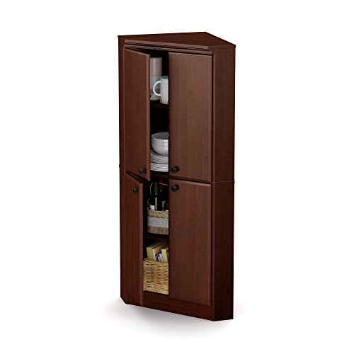 South Shore 4-Door Corner Armoire for Small Space with Adjustable Shelves, Royal Cherry