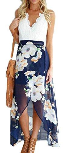 Cruiize Femmes Balancer Imprimé Floral Entrecroisement Salut-bas Robe Longue Col En V Bleu