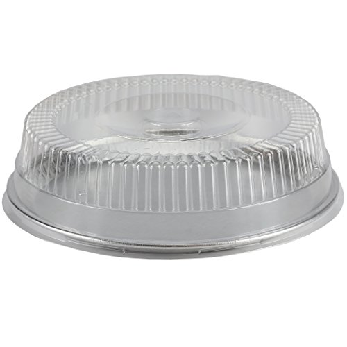 Simply Deliver 12-Inch Embossed Aluminum Flat Tray and Dome Lid Set, 25-Count