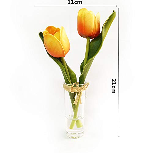 EBUYOM Mini Artificial Flowers Tulips Bouquet in Glass Vase,Mothers Day Present Home Ornament Wedding Decoration (Yellow)