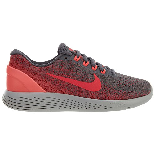 Nike Womens Lunarglide 9 Gunsmoke / Solar Red-hot Punch