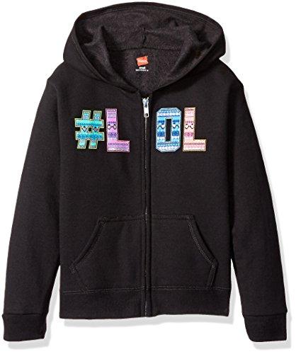 Hanes Big Girls' Ecosmart Graphic Full-Zip Fleece Hoodie, Black, (Graphic Fleece Hoody)