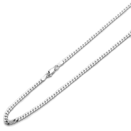Sterling Silver 3mm Italian Solid Curb Link Chain Necklace, 22