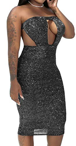 Women's Sexy Sparkly Dress Elegant Tube Backless Glitter Pencil Gown Stretchable Bodycon See Through Mesh Bandage Hollow Out Outfits Stretchable See Through Mesh Bandage Hollow Out Outfits Silver