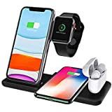 Fabucare® 4 in 1 Charging Stand for Apple Watch Airpods Airpods Pro iPhone, Qi Fast Charger Dock with USB Output,Wireless Charging Station Holder 15W Compatible with iPhone 11/11pro/11pro Max/X/XS/XR/Xs Max/8/8P, Galaxy S10/S9/S9+/S8 and More