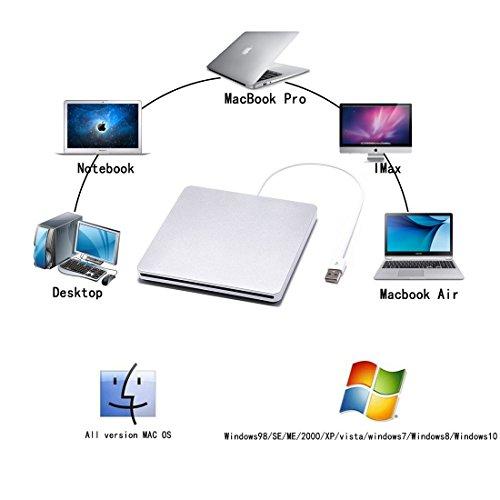 External CD DVD Drive Sunreal Ultra Slim Portable USB 2.0 CD+/-RW DVD +/-RW Burner Writer Player for Apple Mac Macbook Pro/Air iMac Laptop by Sunreal (Image #1)