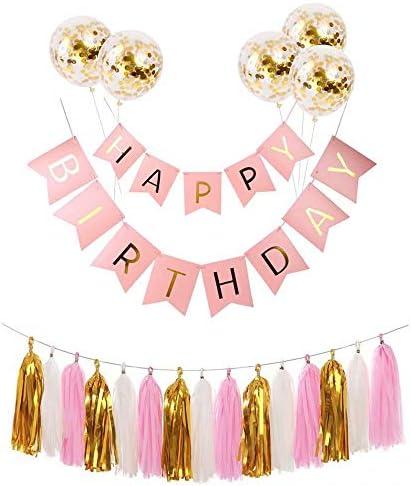 Big Bargain Store 誕生日パーティーの装飾に最適 15タッセルトリム 1セットハッピーバースデーバナーホオジロセット 男の子の女の子のパーティー用品 5ゴールド紙吹雪ラテックス風船 光沢のある文字付き Pink