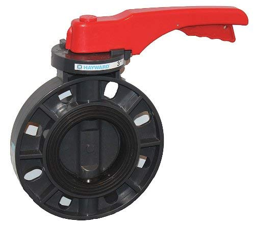 Hayward BYCS1030E1LGA Series BYCS PVC Body & Disc EPDM Liner Lever for Butterfly Valve, 3