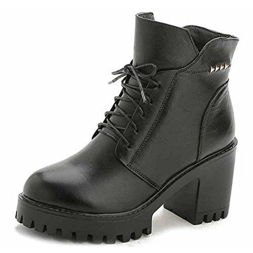 HSXZ Zapatos de Mujer Otoño Invierno de cuero auténtico confort zapatos botas de tacón Chunky Round Toe botines/botines de amarre cinta roja casual Black