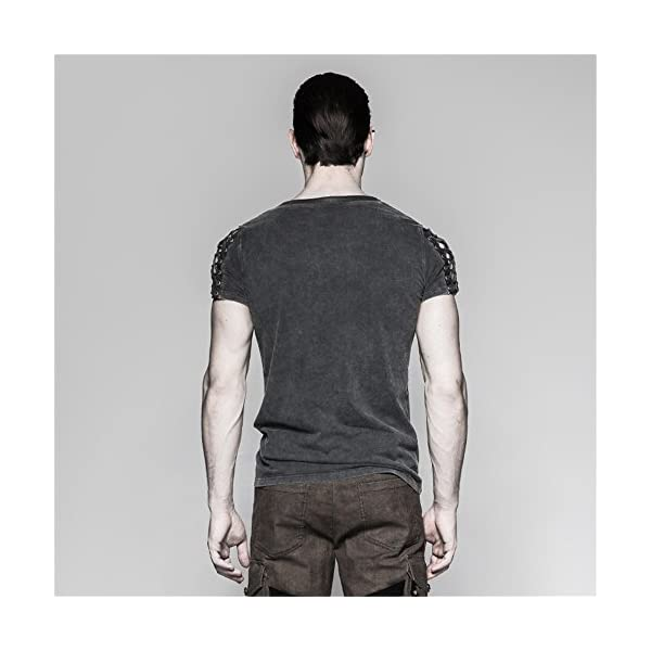 Steampunk Asymmetric Big Neck Men T Shirts Fine Cotton T-Shirts with Hollow Drawstring Casual Tops 5
