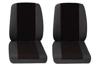 Fundas de asiento de coche, Transporter, 2 x solo asiento, Renault Trafic, gris/rojo