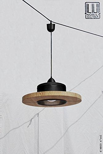 Lámpara de techo hecha a mano, en color negro mate + madera ...