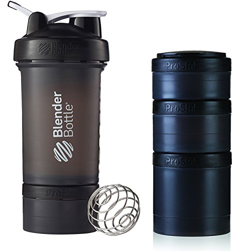 BlenderBottle ProStak 22 Oz Bottle with 6 Piece Twist n' Lock Storage Set, Black