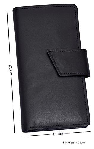 ES Trader Mens Luxus echt Original Leder weichen Qualität Brieftasche Bifold Münze Tasche, AA2786 Lop, 17 cm, schwarz schwarz