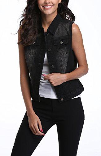 Femme Miss Avec Denim Poches Rabat Lavé Jeans Veste Boutonnées Noir Moly BOxqrgB