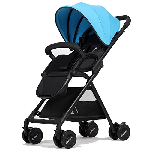 JAD@ Baby Trolley High Landscape Can Lie Down Ultra-Light Portable Foldable 1-3 Years Old Child Baby Widened Lengthened Two-Way Baby Carriage Umbrella Car Trolley Aluminum Alloy Oxford Cloth Stroller