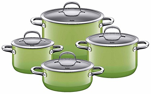 WMF SILIT Passion Colors 8 Piece Cookware Set, Pick From Black, Green, Orange, Yellow, Red (Green)