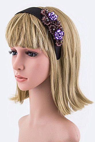 Trendy Fashion Jewelry Ceramic Flower & Crystal Beads Satin Headband By Fashion Destination | (Purple) - Flowers Marcasite Brooch