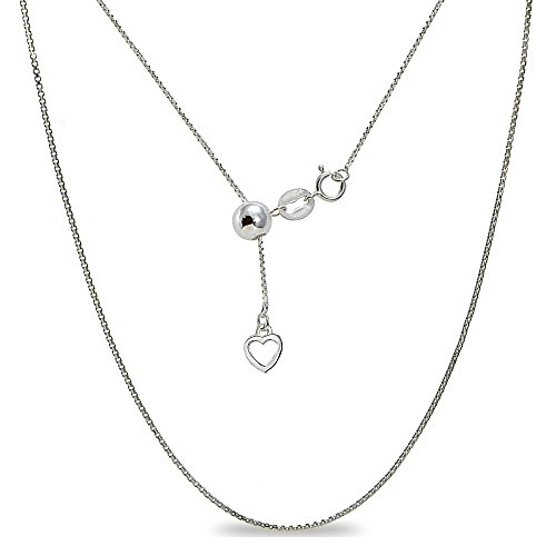 Sterling Silver Adjustable Box Bolo Chain Necklace 20 Inches