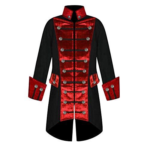 Kacowpper Christmas Punk Men Winter Warm Vintage Tailcoat Jacket Overcoat Outwear Buttons Coat -