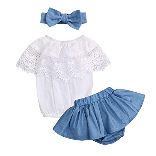 (Newborn Infant Baby Girl Shorts Outfits Set Ruffle Off-Shoulder T-Shirt Tank Top + Bloomer Shorts Summer Clothes (White, 6-12)