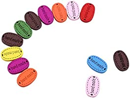 50pcs Mix Color 50//100 Pack Handmade Tag Label Wooden Buttons,DIY Oval Wood Buttons 2-hole Sewing Button for Scrapbooking Crafts with Hand made Lettering