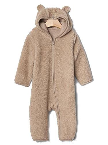 Baby Gap Beige Sherpa Bear Ear Zip Hoodie Outerwear Bunting Romper 3-6 months (Baby Gap Bear)