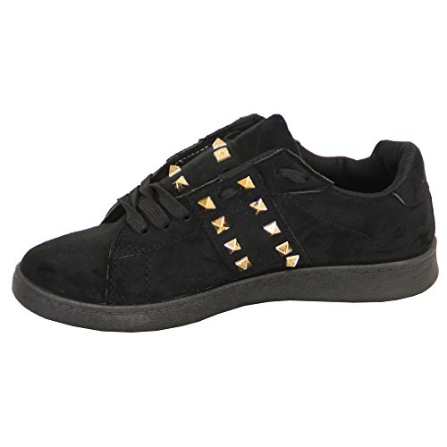 Ladies Suede Look Flat Trainers Womens Pumps Lace Up Studs Shoes Casual Fashion Black - AM966 Q2HgaU8D