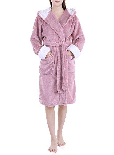 Genuwin Fleece Robes for Women, Plush Fluffy Robe with Hood Womens Bathrobe Lounge Robe House Coat S~XL