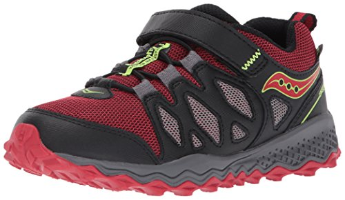 Saucony Peregrine Shield A/C Running Shoe (Little Kid/Big Kid), Black/Red, 6 Wide US Big Kid (Saucony Youth Grid)