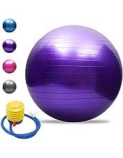 TOMSHOO Anti-Burst Yogaboll, extra tjock för stabilitet, balansboll, pilatesboll, fysisk fitness, gymnastikboll, 45 cm/55 cm/65 cm/75 cm, inklusive luftpump