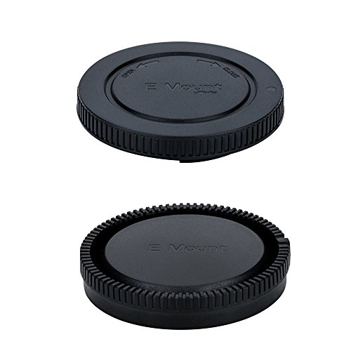 Body Cap and Rear Lens Cap Kit for Sony Alpha Series & NEX Series E-Mount Mirrorless Camera and Lens such as Sony Alpha A9/A7/A7 II/A7S/A7S II/A7R/A7R II/A6500/A6300/A6000/A5100/NEX-7/NEX-6/NEX-5R