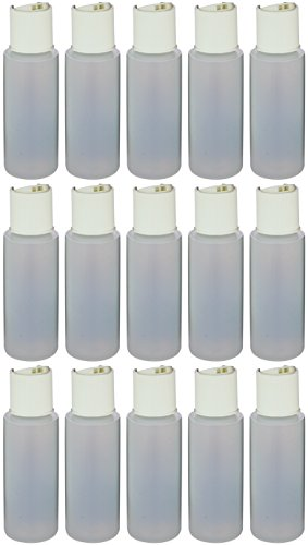 Earths Essentials Pack Of Fifteen Travel Size Refillable 2.5 Oz. Squeeze Bottles With One Hand Press Cap Dispenser Tops. Great for Dispensing Lotions, Shampoos and Massage Oils.