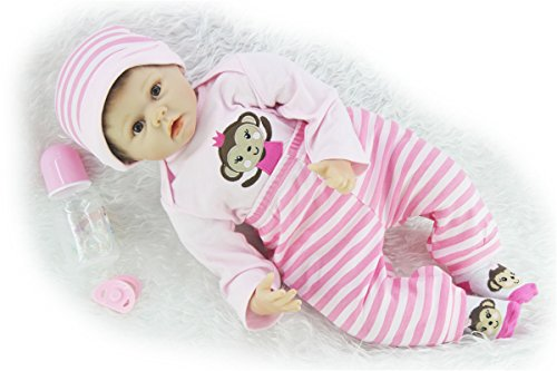 SanyDoll Reborn Baby Doll Soft Silicone 22inch 55cm Magnetic Lovely Lifelike Cute Lovely Baby Pink monkey suit