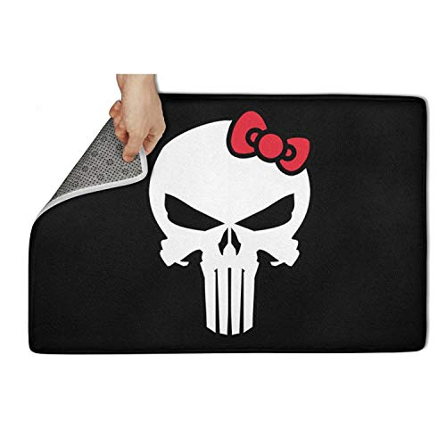 Wardell The-Punisher-Kitty-mash-up- Indoor/Outdoor Entrance Door Mats Rubber Non Slip 23.5