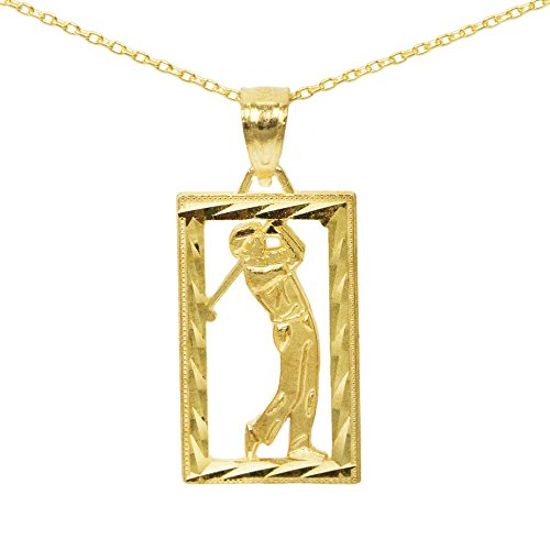 Player Charm 14kt Gold Jewelry (14k Yellow Gold Square Golf Pendant (No Chain))
