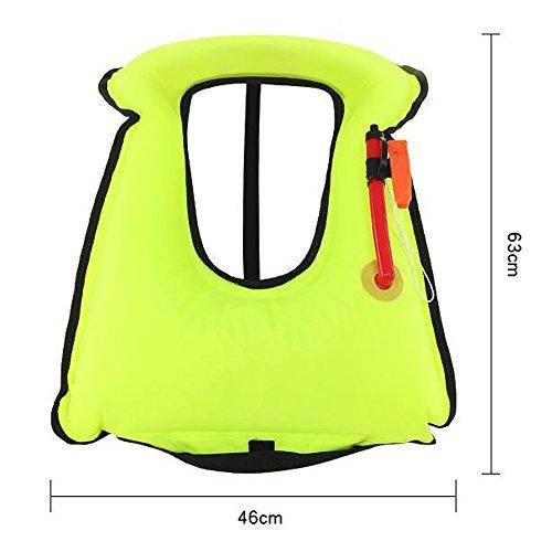 BlueDiamond Adult Portable Inflatable Canvas Life Jacket Snorkel Vest For Diving Safety