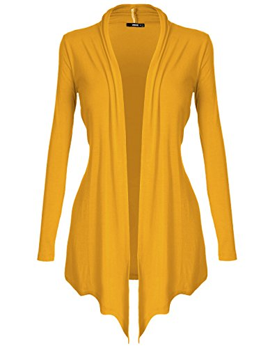 Canary Yellow Colour - DRSKIN Women's Open - Front Long Sleeve Knit Cardigan (Cardigan Yellow, M)