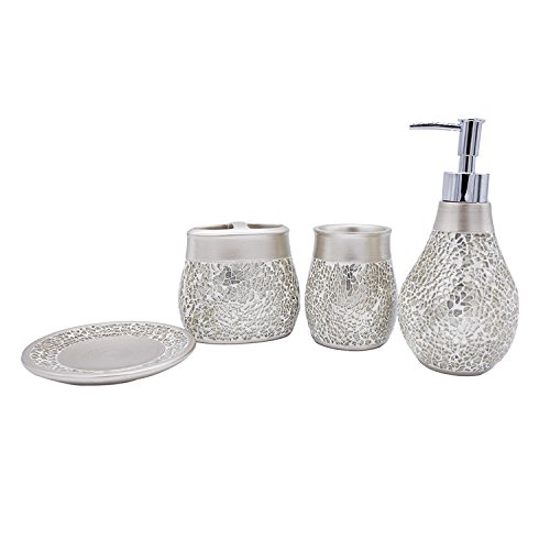 Tumbler Soap Dish Toothbrush Holder - Bathpro 4-PIECE Mosaic Bathroom Accessories Completes with Lotion/Soap Dispenser,Bath Cup/Tumbler,Soap Dish,Toothbrush Holder Match for Marble or Glass Modern Bath Style(Golden)