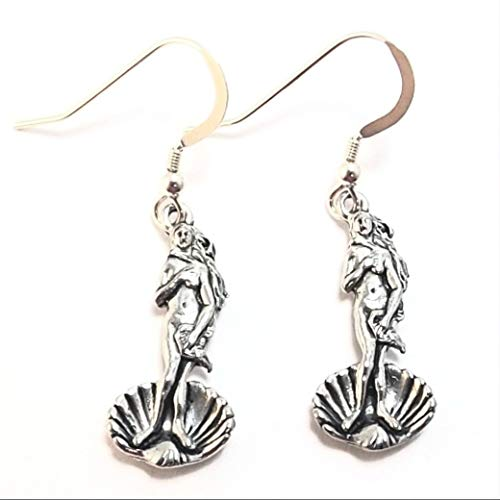 - Pewter Venus on The Half Shell Charms on St Silver Ear Wire Dangle Earrings-5364 for Jewelry Making Bracelet Necklace DIY Crafts