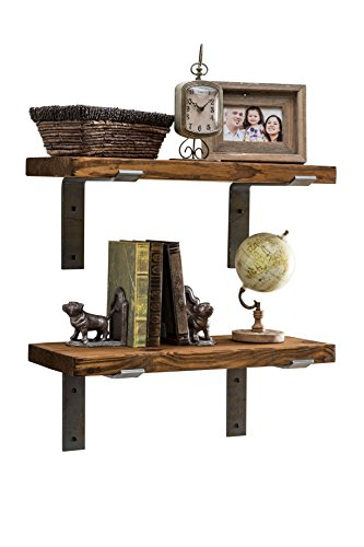 Industrial Shelves w/Metal Brackets (Set of 2) - del Hutson Designs, USA Handmade, Pine Wood (24 Inch / 2 Ft, Dark Walnut) - Handmade in the USA using high grade Pine wood Displays pictures, books, and other décor Includes Industrial Brackets (hardware not included) - wall-shelves, living-room-furniture, living-room - 41UL9gbQ8eL -