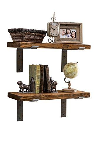 2' Tall Wood - Industrial Shelves w/Metal Brackets (Set of 2) - del Hutson Designs, USA Handmade, Pine Wood (24 Inch / 2 Ft, Dark Walnut)