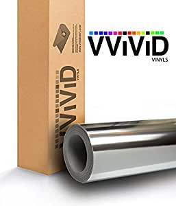 "VViViD Gloss Chrome Silver Vinyl Wrap Adhesive Film Roll Air Release DIY Decal Sheet 6"" x 60"" Silver Chromesilvervinyl6x60"