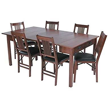 Mission Style Expanding Dining Table in Warm Fruitwood Finish